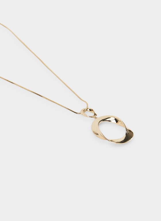 Open Oval Pendant Necklace , Gold, hi-res
