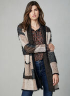 Open Front Knit Cardigan , Black, hi-res