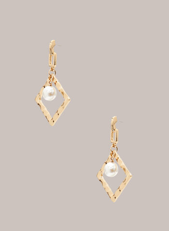 Pearl & Metallic Dangle Earrings, Off White,  jewellery, accessories, earrings, open, lozenge, metallic, hammered, pearl, spring summer 2021
