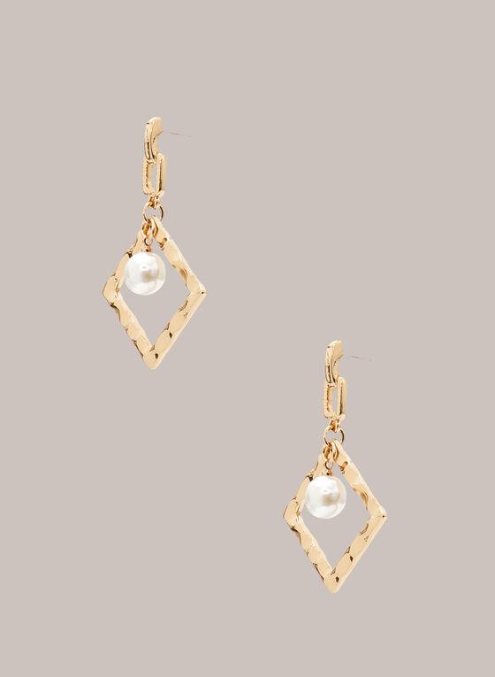 Boucles d'oreilles losanges avec perles , Blanc cassé
