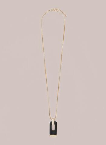Collier long à pendentif rectangulaire, Noir,  collier, long, rectangle, résine, automne hiver 2020