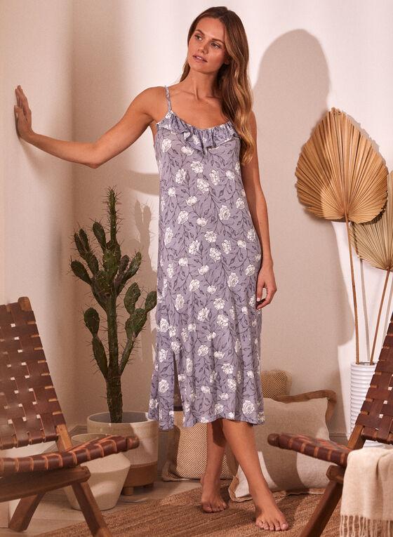 Ruffled Floral Print Nightgown, Grey