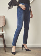 Rhinestone Embellished Slim Leg Jeans, Blue
