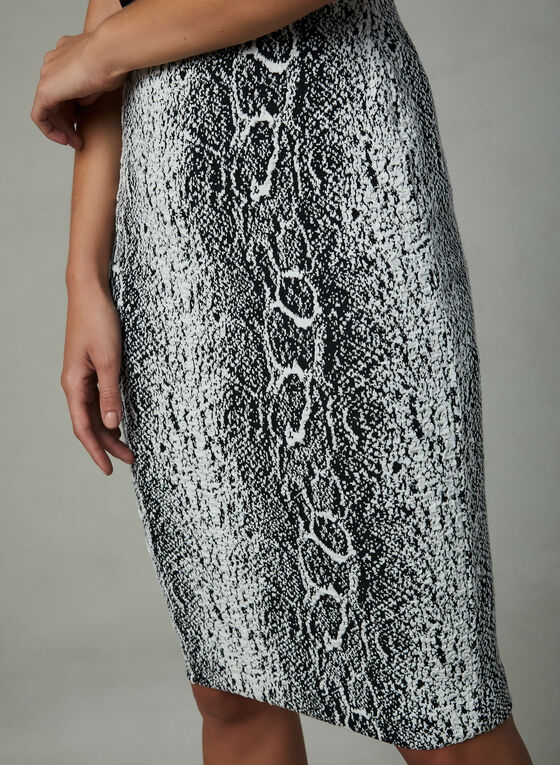 Snakeskin Print Pencil Skirt, Black, hi-res