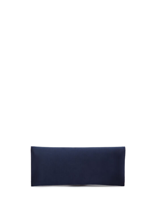 Crystal Embellished Satin Clutch, Blue, hi-res