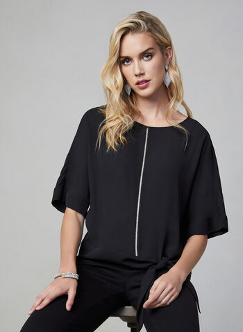 Rhinestone Detail Blouse, Black, hi-res,  blouse, top, rhinestone, details, tie, chiffon, boat neck, fall 2019, winter 2019