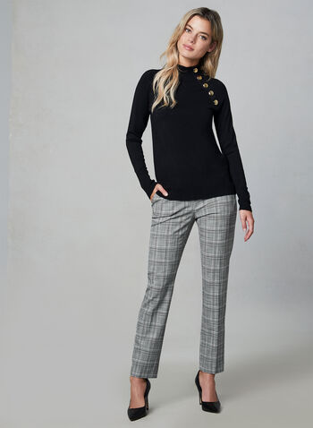 Plaid Print Slim Leg Pants , Grey, hi-res,  plaid, slim leg, stretchy, pleats, trousers, fall 2019, winter 2019