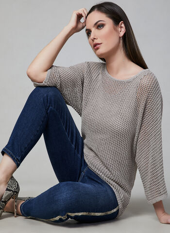 Open Weave Bat Sleeve Sweater, Off White, hi-res