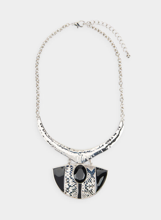 Snake Pendant Necklace  , Black, hi-res