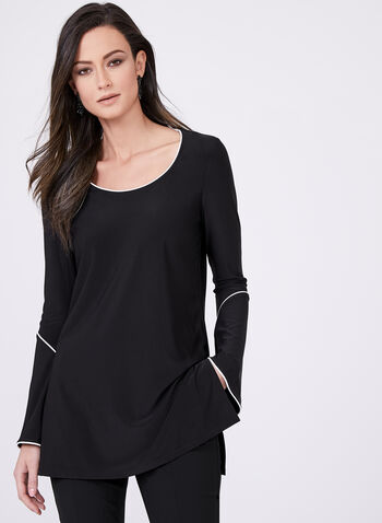 Bell Sleeve Tunic Top, Black, hi-res