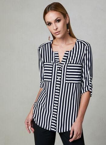 Vex - Striped Blouse, Blue, hi-res