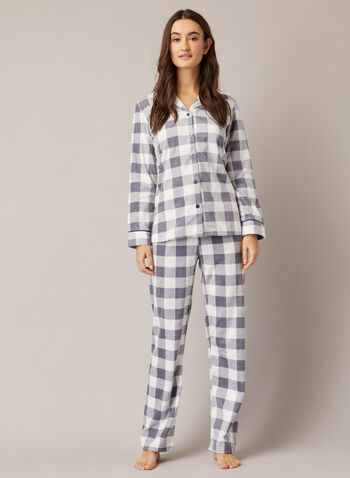 Check Print Pyjama Set, Grey,  fall winter 2020, pyjama, set, check print