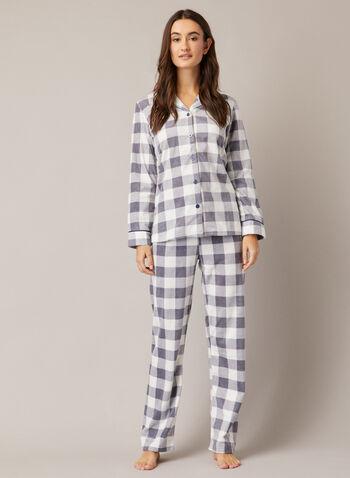 Ensemble pyjama à motif carreauté, Gris,  automne hiver 2020, pyjama, ensemble