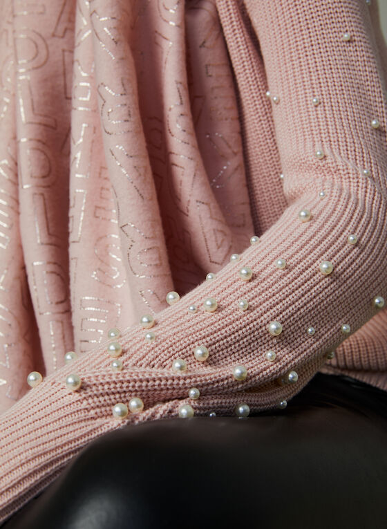 Pearl Embellished Knit Sweater, Pink, hi-res