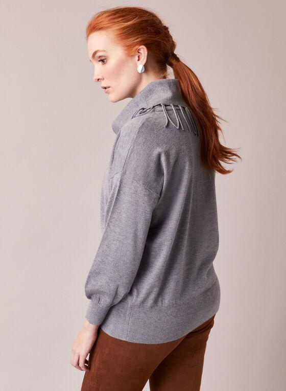 Fringed Cowl Neck Sweater, Grey