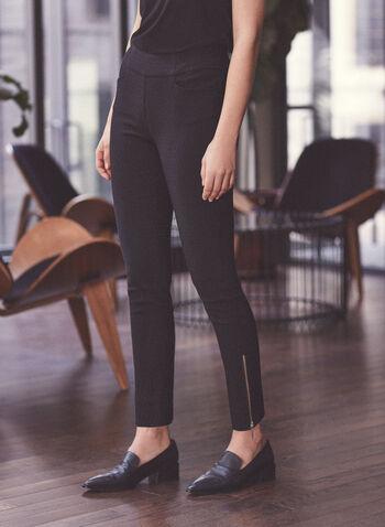 Zipper Detail Jacquard Pants, Black,  pants, bengaline, jacquard, pull-on, slim leg, pockets, spring summer 2020
