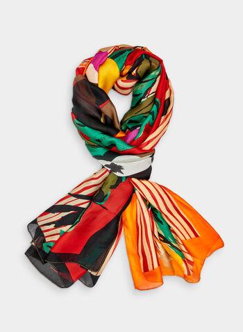 Foulard à rayures et imprimé floral abstrait, Multi, hi-res