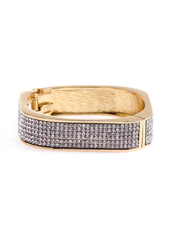 Rounded Square Crystal Embellished Bangle, Gold, hi-res