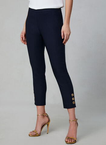 Pull-On Button Detail Capri Pants, Blue,  bangaline, pull-on, elasticized waist, stretchy, spring 2019