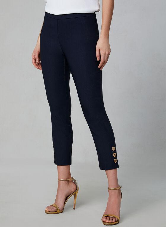Pull-On Button Detail Capri Pants, Blue