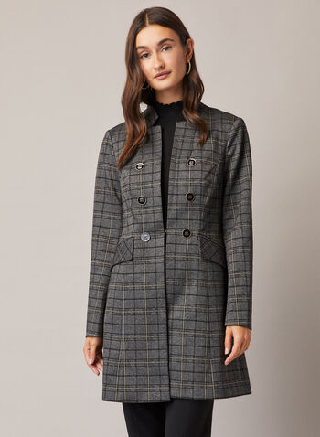 Tartan Print Redingote, Grey,  jacket, redingote, double breasted, tartan, inverted notch, fall winter 2020