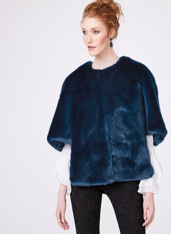 Adrianna Papell - Faux Fur Cape, Blue, hi-res