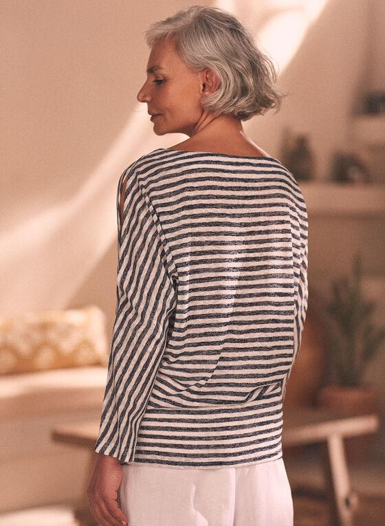 Stripe Print Slit Sleeve Top, Blue