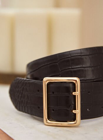 Large Leather Belt, Black,  fall winter 2021, accessory, accessories, belt, gator skin, square, thick, leather,