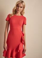 Karl Lagerfeld Paris - Robe en crêpe à volants, Rose
