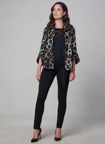Frank Lyman - Blazer motif léopard, Noir, hi-res,  blazer, manches cloche, léopard, col montant, gros boutons, jersey, automne hiver 2019