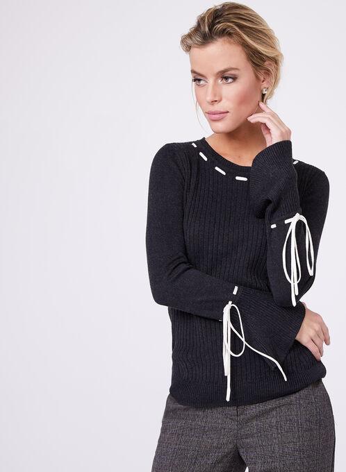 Pull en tricot effet lacé à manches cloche, Gris, hi-res