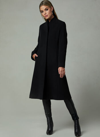Mallia - Long Cashmere Blend Coat, Black, hi-res