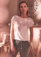 Foil Tropical Print Tee, White