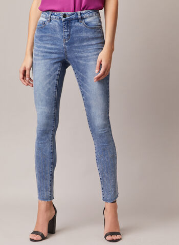 Rivet Detail Slim Leg Jeans, Blue,  jeans, slim leg, denim, rivets, faded, pockets, fall winter 2020