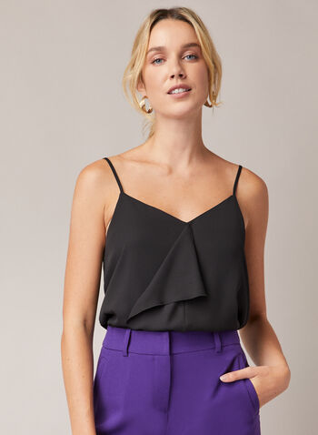 Ruffle Detail Camisole, Black,  top, camisole, spaghetti straps, ruffle, v-neck, fall winter 2020