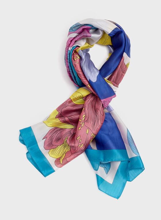 Foulard floral style pop art, Bleu, hi-res