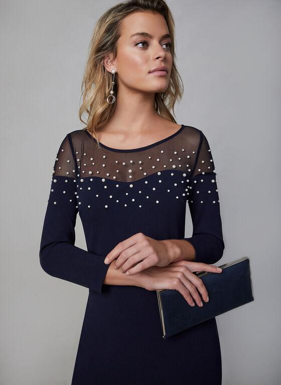 Karl Lagerfeld - Robe longue à corsage perlé , Bleu