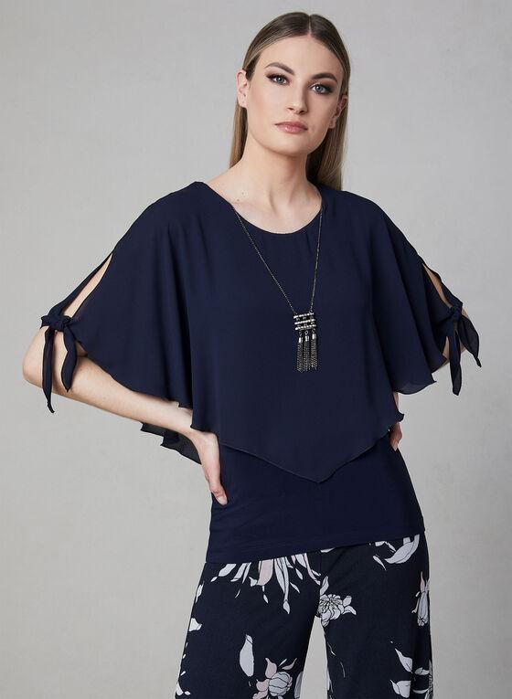 Frank Lyman - Poncho Blouse & Necklace, Blue