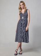 Eliza J - Stripe Print Midi Dress, Blue, hi-res
