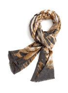 Animal Print Scarf, Brown, hi-res