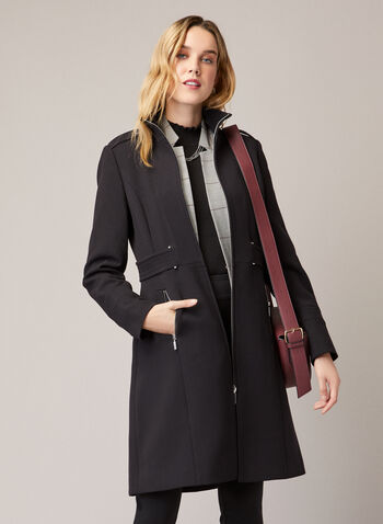 Front Zip Knit Coat, Black,  fall winter 2020, coat, tricotine, long sleeves, military, zipper, zip, structured, pockets