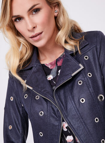 Jolibel - Grommet Detail Faux Leather Jacket, Blue, hi-res