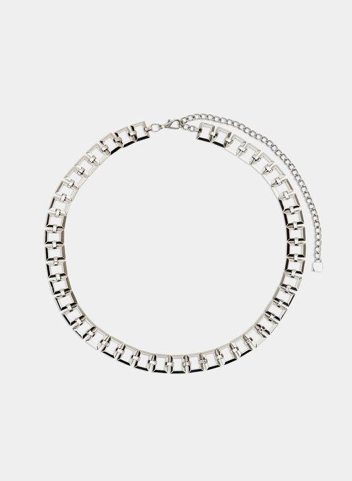 Square Chain Link Belt, Silver, hi-res