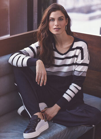 Alison Sheri - Stripe Print Colour Block Sweater, Black,  sweater, knit, long sleeves, stripe print, round neck, colour block, spring summer 2021