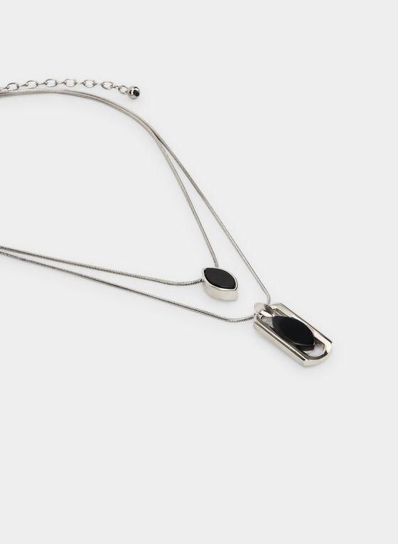 Collier à double rangée et pendentifs, Noir