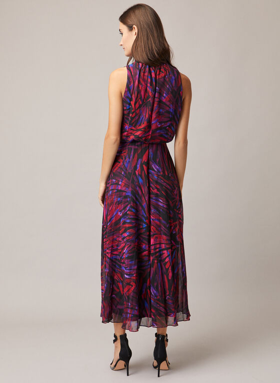 Maggy London - Abstract Print Tie Neck Dress, Red