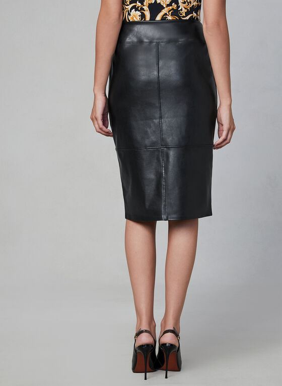 Faux Leather Pencil Skirt, Black, hi-res