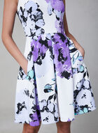 Floral Print Fit & Flare Dress, Off White, hi-res