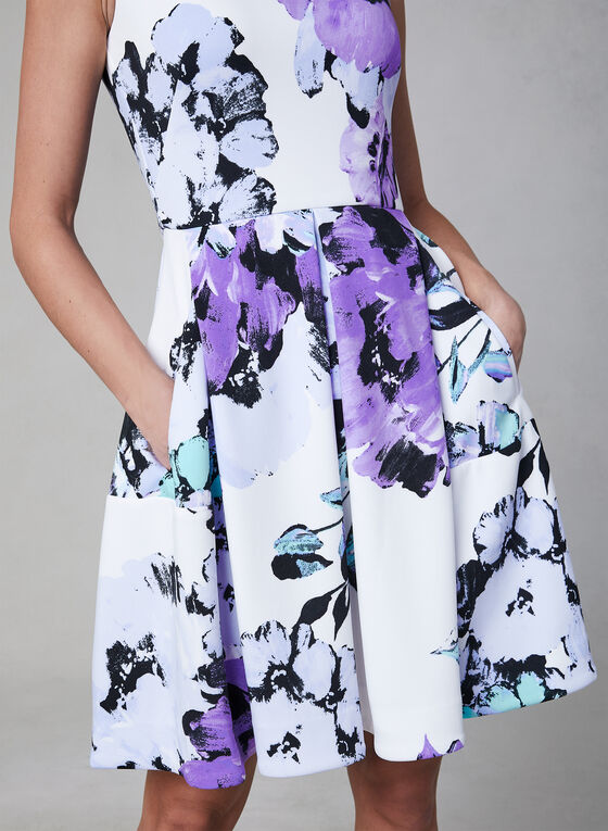 Floral Print Fit & Flare Dress, Off White