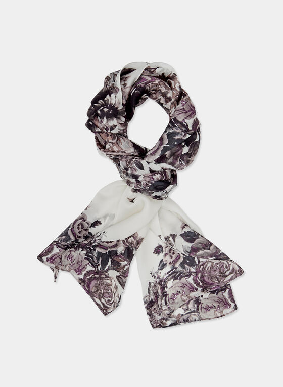 Floral Print Silk Scarf, Off White, hi-res